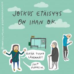 kuvitus illustration etäisyys bussipysäkki pieru ihmiset
