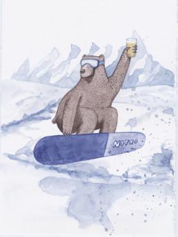 Beer bear -onnittelukortti, vesivärikuvitus